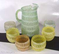 Vintage Spaghetti String Glass Pitcher Water Set w/ 6 Tumblers Rubber