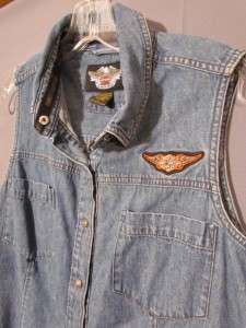 Harley Davidson Denim / Jean Shirt, Women Lrg, Sleeveless   Top
