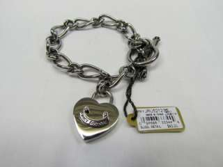 Juicy Couture Silver Scottie Dog Heart Padlock Charm Starter Bracelet