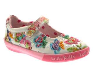 LK5177 LELLI KELLY GIRLS MARIPOSA MARY JANE DOLLY SHOES CANVAS SIZE 6