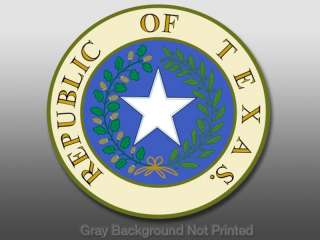 Republic of Texas Seal Sticker  car state window decal