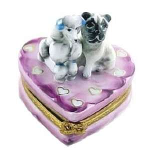 Cute Pug and Poodle on Heart French Limoges Box