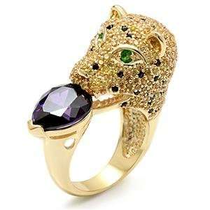 Size 8 Jaguar Cat Amethyst Cubic Zirconia Brass Faux Gold