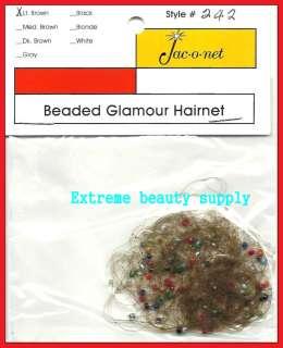 Jac O Net blue red beaded glamour hair net light brown