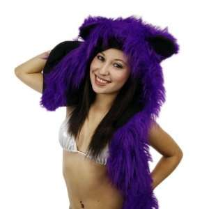 Purple Faux Fur Fluffy Animal Hood Hat: Toys & Games