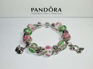 Authentic Pandora Bracelet Kitty Cat Love with 18 Beads & Charms w