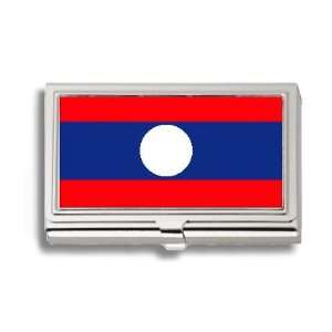 Laos LAO Flag Business Card Holder Metal Case Office