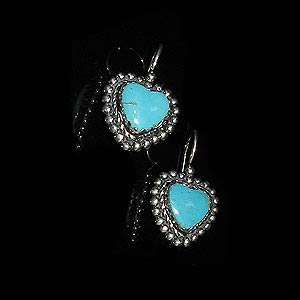 Sterling Silver Natural Blue Turquoise Heart Earrings