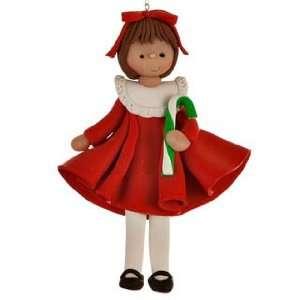 Little Girl in Red Dress Christmas Ornament