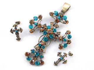 Topaz Crystal Rhinestone Cross Holy Ritual Pendant Earring Set