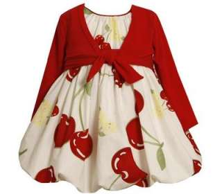 Bonnie Jean Girls 2 Piece Easter Spring Cherry Sun Bubble Dress
