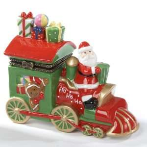 Ceramic Santa Claus Train Hinged Christmas Boxes Home & Kitchen