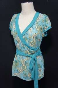 Ann Taylor LOFT Blue/Green/Brown/White Floral Design Cap Sleeve Blouse