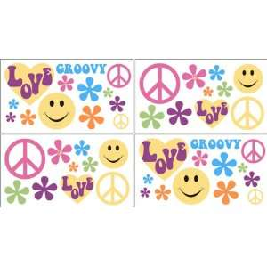 Groovy Kids and Teens Peace Sign Wall Decal Stickers   Set