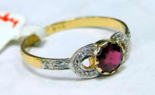 14 cts solid gold diamond Ring genuine Ruby jewelry