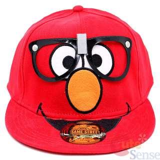 Sesame Street Elmo w Nerd Glasses Red Flex Fit Flatbill Cap Hat
