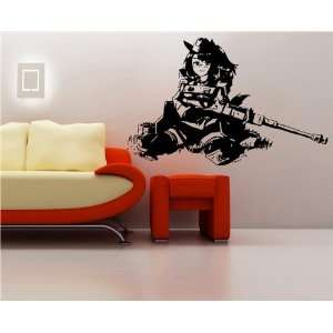 Decal Stickers Anime Girl with Rifle GUN Shots S6911