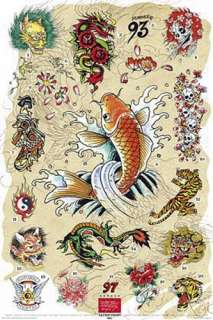 ED HARDY   TATTOO POSTER (JAPANESE CHART) (KOI FISH)