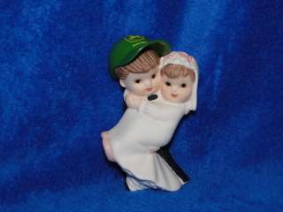 NEW BRIDE & GROOM WITH JOHN DEERE CAP FIGURINE CAKETOP