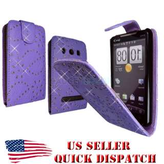 FOR HTC EVO 4G PURPLE FLIP OPEN LEATHER BLING DIAMOND JEWEL CASE COVER