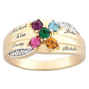 Sterling Silver Round Mothers Birthstone Name Ring   Up to 6 Stones