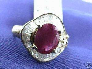 14 ct LADIES DIAMOND & RUBY RING YELLOW GOLD 18K