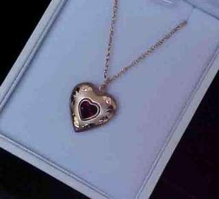 14kt Gold Filled 1/2 carat Heart cut Genuie Garnet Diamond etched