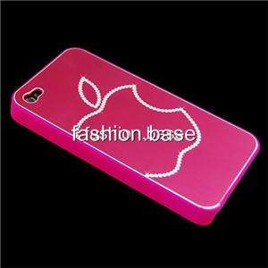 HOT PINK BLING SILVER APPLE HARD CASE COVER FOR IPHONE 4 4G