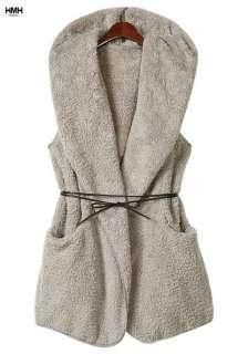 Fashion Women Dual Side Faux Fur Coat Outwear Belted With Hat Vest