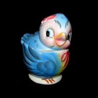 Vintage Lefton Bluebird Sugar or Jam Jar   Blue Bird