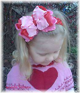 VALENTINES DAY RED & HOT PINK HAIR BOW HEADBAND OR CLIP