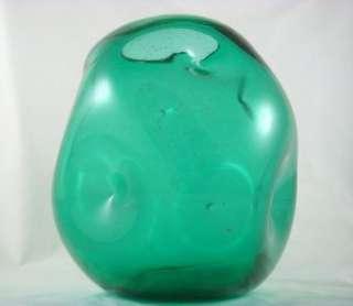 Vintage Mid Century Modern Designed Green Hand Blown Art Glass Bowl