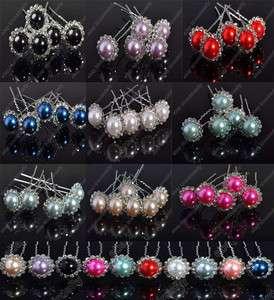 Wholesale jewelry lots 200X Rhinestone Big Pearl Beads Braid Hair pin