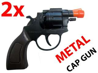 2x METAL CAP GUN Toy Pistol   Fires 8 Shot Ring Caps   38 Detective