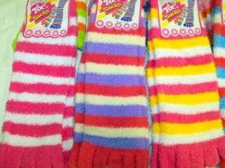 FUZZY TOE SOCKS MULTI STRIPE PATTERN SIZE 9 11 Bright Colors Ladies