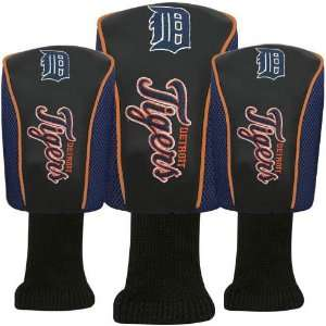 Detroit Tigers Black Three Pack Golf Club Headcovers Sports
