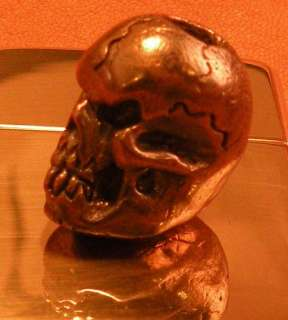 Solid Bronze Skull Bead. Man Sized Bead for Custom Knives. Paracord