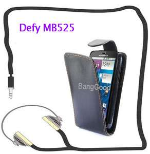 For Motorola Defy MB525 Flip Leather Pouch Case Cover NEW (Black