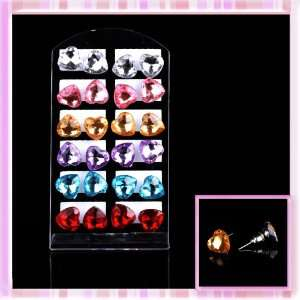 Cute Fashion Mix Color Heart Shape Rose Pattern Resin Earrings 12 Pair