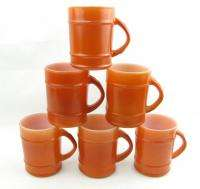 King Orange Ranger Barrel Coffee Mugs Set 6 Cups Anchor Hocking