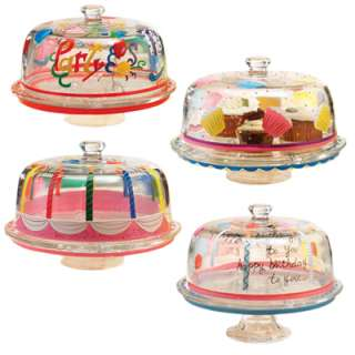 Party Glass Pedestal Cake Plate with Dome in 3 Styles
