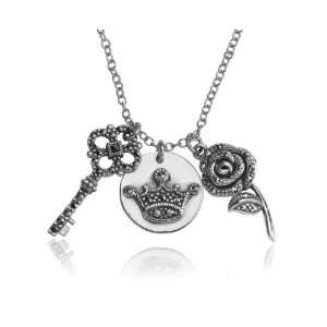 Sterling Silver Marcasite Multi Charm Pendant Jewelry