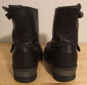 VTG FRYE SHORT BLACK LEATHER ENGINEER MOTORCYCLE BOOTS ! Sz 7   7½