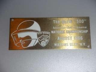 GLEN NY AUG 1966 GLEN 500 SPORTS CAR CLUB OF AMERICA BRASS BADGE PLATE
