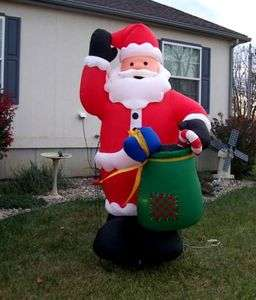 Light Up Christmas Santa &Toy Bag Inflatable Airblown Blow up