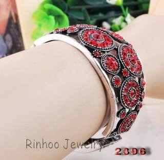 3p Mix Full Ringed Flowers Rhinestone Crystal Clear Tibet Silver Cuff