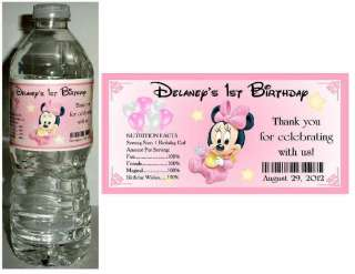 20 BABY MINNIE MOUSE 1ST BIRTHDAY ~ WATER BOTTLE LABELS