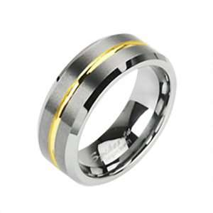 Size 6   Spikes Womens Tungsten Carbide Gold Striped Band