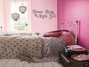 DREAM BIG LITTLE GIRL Girls Bedroom Wall Art Decal 36
