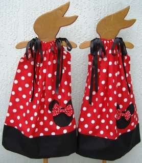 NEW TWINS/TWO Minnie Mouse Disney Pillowcase Dresses Size 4 12Y SALE